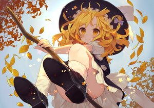 Rating: Safe Score: 240 Tags: autumn blonde_hair hat kirisame_marisa leaves long_hair misoni_comi panties striped_panties touhou underwear upskirt witch witch_hat yellow_eyes User: Flandre93