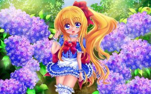Rating: Questionable Score: 16 Tags: blonde_hair blue_eyes dress flowers long_hair original sweetcloud tagme thighhighs User: gnarf1975