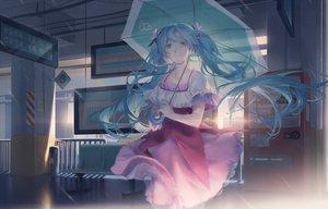 Rating: Safe Score: 45 Tags: hatsune_miku long_hair rain tagme_(artist) umbrella vocaloid water User: luckyluna