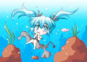 Rating: Safe Score: 41 Tags: animal blue_eyes blue_hair chibi deep-sea_girl_(vocaloid) dress fish hatsune_miku twintails underwater vocaloid water User: HawthorneKitty