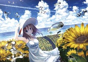Rating: Safe Score: 88 Tags: blue_eyes brown_hair bubbles clouds dress flowers hat kagayan1096 original sky summer_dress sunflower water User: Jahta
