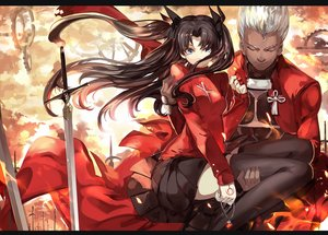 Rating: Safe Score: 59 Tags: archer black_hair blue_eyes fate/stay_night long_hair male necklace saberiii short_hair skirt sword tattoo thighhighs tohsaka_rin weapon white_hair zettai_ryouiki User: Flandre93