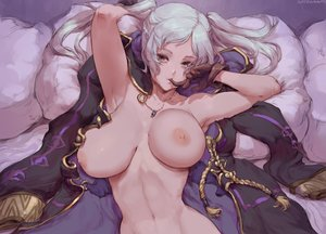Rating: Questionable Score: 155 Tags: bed braids breasts close cutesexyrobutts fire_emblem gloves long_hair navel necklace nipples nude robin_(fire_emblem) signed sketch twintails white_hair User: BattlequeenYume