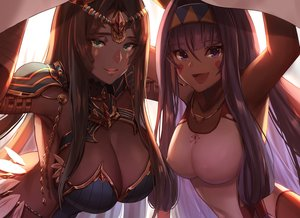 Rating: Safe Score: 165 Tags: 2girls breasts brown_hair cleavage dark_skin dolce_(dolsuke) erect_nipples fate/grand_order fate_(series) green_eyes headband long_hair necklace nitocris_(fate/grand_order) purple_eyes purple_hair scheherazade_(fate/grand_order) swimsuit User: BattlequeenYume