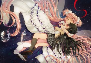 Rating: Safe Score: 86 Tags: 2girls akemi_homura black_hair blush bow dangmill dress hug kaname_madoka kneehighs long_hair mahou_shoujo_madoka_magica pink_eyes pink_hair ribbons seifuku shoujo_ai space stars tears twintails ultimate_madoka waifu2x water wink User: otaku_emmy