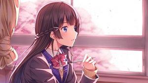 Rating: Safe Score: 15 Tags: blue_eyes blush bow braids brown_hair close long_hair nijisanji seifuku tsukino_mito yuuri_nayuta User: RyuZU