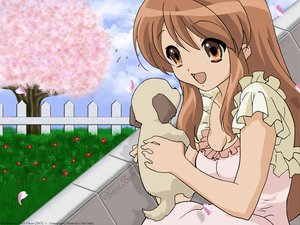 Rating: Safe Score: 8 Tags: animal asahina_mikuru dog flowers petals spring suzumiya_haruhi_no_yuutsu third-party_edit vector User: Oyashiro-sama