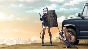 Rating: Safe Score: 18 Tags: 2girls animal_ears arknights brown_eyes brown_hair building car city clouds elbow_gloves franka_(arknights) gloves gray_hair gun horns liskam_(arknights) long_hair nanaran pantyhose ponytail skirt sky sword tail thighhighs weapon zettai_ryouiki User: RyuZU
