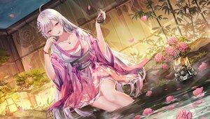 Rating: Safe Score: 83 Tags: flowers gray_hair japanese_clothes junpaku_karen long_hair original purple_eyes robot water User: BattlequeenYume