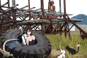 Rating: Safe Score: 51 Tags: animal black_hair cat grass industrial kneehighs original rope ruins sakeharasu school_uniform short_hair sky water User: otaku_emmy