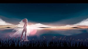 Rating: Safe Score: 120 Tags: barefoot kagamine_rin original scenic see_through sky stars taisos vocaloid water User: FormX