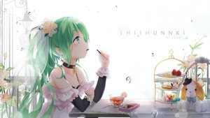 Rating: Safe Score: 240 Tags: cake choker drink flowers food gloves green_hair hatsune_miku headdress kyod+ long_hair necklace pocky ponytail vocaloid water watermark User: RyuZU