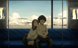 Rating: Safe Score: 119 Tags: black_hair brown_hair clouds glasses kneehighs male mizu_asato original school_uniform shade skirt sleeping train User: Cade