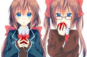 Rating: Safe Score: 33 Tags: 2girls apple aqua_eyes blush bow brown_hair food fruit glasses long_hair original peke_(xoxopeke) seifuku twintails User: otaku_emmy