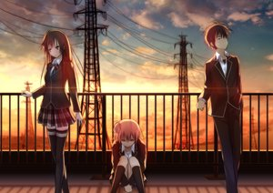 Rating: Safe Score: 98 Tags: black_eyes gray_eyes hikigaya_hachiman kneehighs long_hair male pink_eyes school_uniform short_hair sunset tagme_(artist) thighhighs yahari_ore_no_seishun_love_come_wa_machigatteiru. yuigahama_yui yukinoshita_yukino zettai_ryouiki User: humanpinka