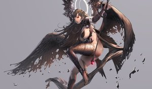 Rating: Questionable Score: 196 Tags: ass breasts cropped destiny_child gray halo long_hair nightmadness staff stockings thighhighs underboob wings User: Superkid
