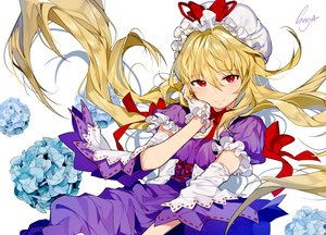 Rating: Safe Score: 77 Tags: blonde_hair bow dress flowers gloves long_hair red_eyes ribbons signed sukja touhou waifu2x yakumo_yukari User: otaku_emmy