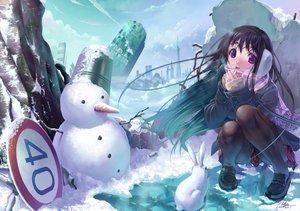 Rating: Safe Score: 78 Tags: blush brown_hair bunny long_hair snow snowman valyu User: HawthorneKitty