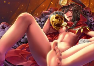 Rating: Questionable Score: 113 Tags: barefoot breasts brown_hair cape fate/grand_order fate_(series) gloves hat long_hair navel nobunaga_oda_(fate) nude raid_zero red_eyes skull underboob User: FormX