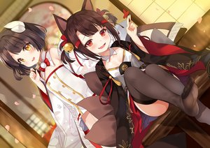 Rating: Safe Score: 74 Tags: 2girls akagi_(azur_lane) akagi-chan_(azur_lane) animal_ears anthropomorphism azur_lane bell bow brown_hair fang foxgirl hiei_(azur_lane) hiei-chan_(azur_lane) horns japanese_clothes kimono kurot loli multiple_tails red_eyes short_hair tail thighhighs twintails yellow_eyes User: otaku_emmy