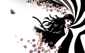 Rating: Safe Score: 49 Tags: black_hair butterfly flowers funakura halloween kirishiki_sunako shiki white User: HawthorneKitty