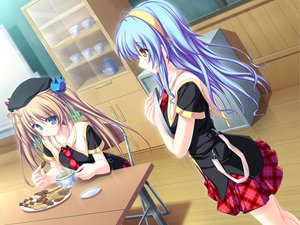 Rating: Safe Score: 29 Tags: aqua_eyes blonde_hair blue_hair game_cg hat hiiragi_tsukino hisagihara_ui jpeg_artifacts long_hair seifuku suzukaze_no_melt tenmaso twintails whirlpool yellow_eyes User: acucar11