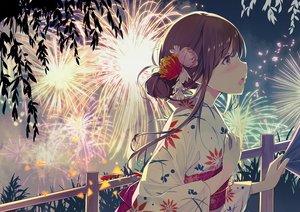 Rating: Safe Score: 91 Tags: blush brown_hair close fireworks japanese_clothes original sky sutorora yellow_eyes yukata User: FormX