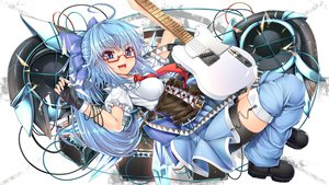 Rating: Safe Score: 90 Tags: blue_hair bow cirno glasses gloves guitar instrument kantarou_(nurumayutei) touhou User: opai