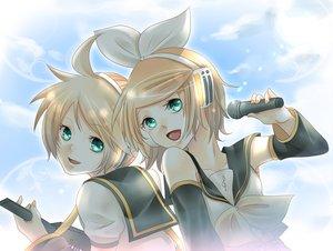 Rating: Safe Score: 10 Tags: aqua_eyes blonde_hair instrument kagamine_len kagamine_rin male short_hair vocaloid User: Tensa