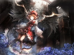Rating: Safe Score: 59 Tags: animal_ears blonde_hair flowers hat mystia_lorelei red_eyes short_hair skirt touhou ultimate_asuka wings User: w7382001