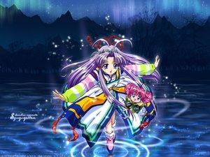 Rating: Safe Score: 3 Tags: japanese_clothes long_hair mamotte_shugogetten night pink_hair purple_hair rishu shaolin water User: Oyashiro-sama