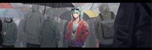 Rating: Safe Score: 35 Tags: aqua_eyes aqua_hair dualscreen hatsune_miku rain short_hair suna_no_wakusei_(vocaloid) sunglasses tagme_(artist) twintails umbrella vocaloid water User: luckyluna
