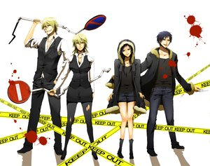 Rating: Safe Score: 31 Tags: black_hair blonde_hair blood blue_eyes durarara!! heiwajima_shizuo orihara_izaya red_eyes short_hair User: Tensa