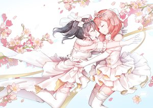 Rating: Safe Score: 47 Tags: 2girls black_hair bow dress elbow_gloves flowers gloves hug kyomono_(hjxop) love_live!_school_idol_project nishikino_maki petals red_hair short_hair twintails wedding_attire yazawa_nico User: FormX