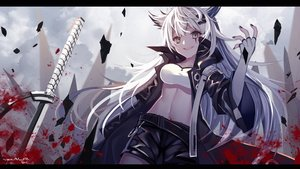Rating: Safe Score: 96 Tags: aluppia animal_ears arknights blood brown_eyes elbow_gloves gloves katana lappland_(arknights) long_hair navel scar shorts sword weapon white_hair wolfgirl User: BattlequeenYume