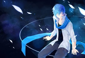 Rating: Safe Score: 30 Tags: all_male blue blue_eyes blue_hair kaito magic male music scarf stars sylvanth vocaloid User: humanpinka