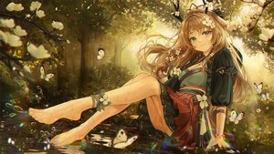 Rating: Safe Score: 106 Tags: animal_ears barefoot bbeedol blue_eyes blush breasts brown_hair butterfly cleavage flowers forest horns long_hair tree water User: BattlequeenYume
