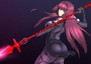 Rating: Safe Score: 222 Tags: armor ass bodysuit fate/grand_order fate_(series) jyura long_hair purple_hair red_eyes scathach_(fate/grand_order) skintight spear weapon User: Flandre93