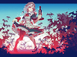 Rating: Safe Score: 117 Tags: animal bat dress drink headdress izayoi_sakuya maid red_eyes touhou white_hair zounose User: opai