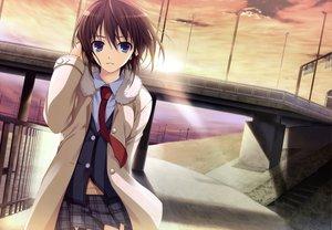 Rating: Safe Score: 79 Tags: blue_eyes brown_hair clouds koi_de_wa_naku makishima_yumi scan school_uniform short_hair sky tie tomose_shunsaku User: Wiresetc
