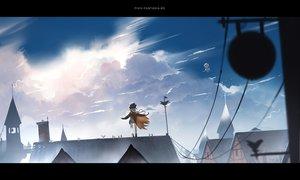 Rating: Safe Score: 15 Tags: airship boots cape clouds gray_hair hat long_hair original pixiv_fantasia sky yuushouku User: RyuZU
