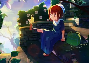 Rating: Safe Score: 25 Tags: animal bird brown_eyes brown_hair dress loli original petals short_hair stairs zongmao User: RyuZU