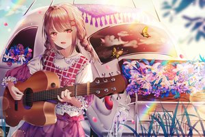 Rating: Safe Score: 86 Tags: braids brown_hair butterfly guitar instrument jpeg_artifacts junpaku_karen lolita_fashion original petals rainbow red_eyes reflection sky twintails User: BattlequeenYume