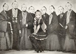 Rating: Safe Score: 38 Tags: bow goth-loli group japanese_clothes katana lolita_fashion male monochrome ogasawara_rinko pantyhose samurai shirobako sword twinpoo weapon User: RyuZU