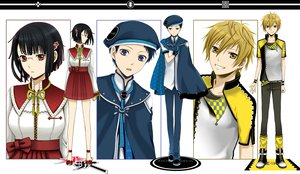 Rating: Safe Score: 20 Tags: black_hair blonde_hair blue_eyes cape durarara!! hat kida_masaomi red_eyes ryuugamine_mikado short_hair skirt sonohara_anri uniform yellow_eyes User: Tensa