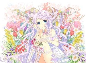 Rating: Safe Score: 44 Tags: aqua_eyes braids breasts cleavage collar dress flowers garter horns long_hair nekozuki_yuki original purple_hair summer_dress User: luckyluna
