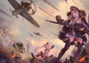 Rating: Safe Score: 165 Tags: aircraft anthropomorphism boots combat_vehicle girls_frontline gray_hair jay_xu kar98k_(girls_frontline) long_hair mg42_(girls_frontline) military red_eyes signed thighhighs twintails weapon white_hair User: RyuZU