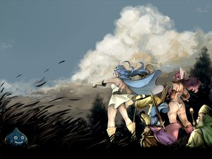 Rating: Safe Score: 40 Tags: 2girls armor blue_hair boots cape clouds dragon_quest dragon_quest_iii dress gloves grass hat long_hair mage naav panties sky slime_(dragon_quest) staff sword tree underwear weapon User: opai