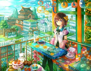 Rating: Safe Score: 42 Tags: brown_hair building cake city clouds drink food fruit original phone purple_eyes see_through short_hair sky strawberry tagme_(artist) thighhighs User: BattlequeenYume