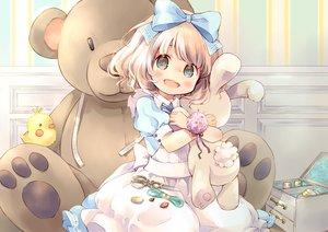 Rating: Safe Score: 113 Tags: blonde_hair blue_eyes blush bow bunny dress hug kuga_tsukasa loli lolita_fashion original short_hair teddy_bear User: FormX